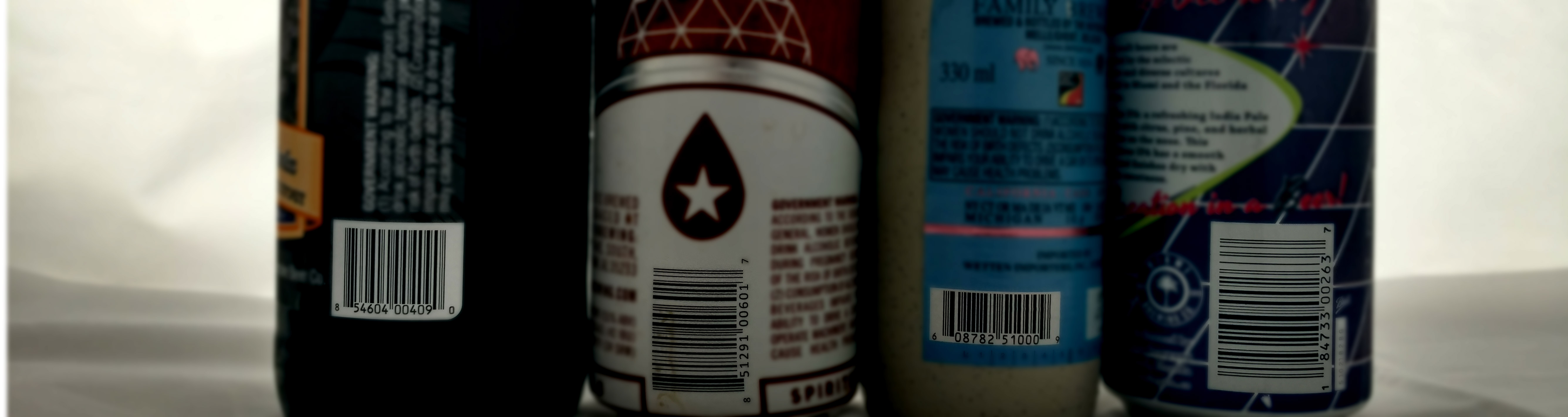 Some UPC labels of widely-distributed beers